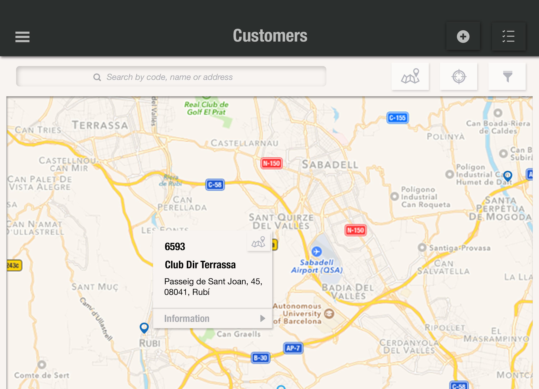 Busca tus clientes en el mapa para crear rutas, irlos a visitar o conocer más información con uSell CRM