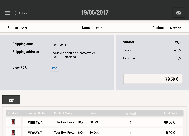 Todos los pedidos cerrados se visualizan en formato pdf después de la firma para comprobar que el pedido se ha cerrado y ha habido una venta de éxito con uSell CRM vende más en todo momento