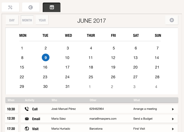 Ten siempre a mano el calendario de tareas y eventos a llevar a cabo para saber en todo momento lo que tienes que hacer con esa oportunidad para llegar a cerrarla y a vender tus productos gracias a uSell CRM
