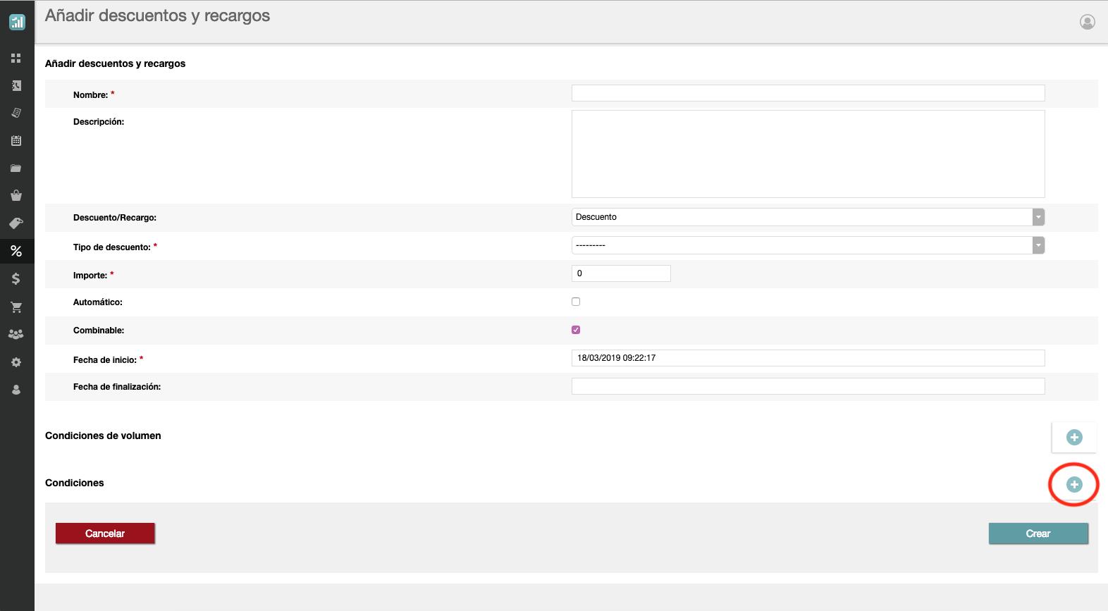 Cómo configurar las condiciones de los descuetntos y recargos en uSell CRM